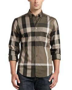 Large-Check Sport Shirt, Tan  by Burberry Brit at Neiman Marcus.