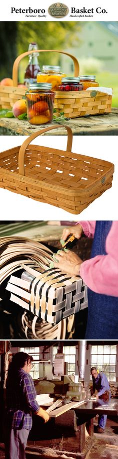 """Our Harvest Gathering Basket is handcrafted in New Hampshire by a company that's been in the basket-making business since 1854. Peterboro Basket Company weaves its baskets out of American hardwood, the same strong and durable wood that is used to make baseball bats, snowshoes and hammer handles. """"Our baskets are meant to be used,"""" says company owner Wayne Dodds. """"Native Americans made similar baskets. Maine fishermen have used them for many years. See more at gardeners.com."""