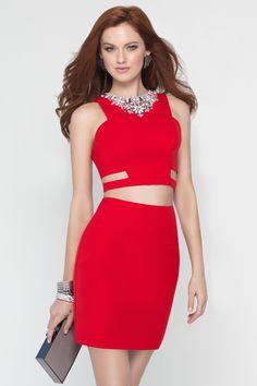 Wishesbridal #2Piece Cut Out Zipper Back Red Jewel Short Chiffon Sheath Column #HomecomingDresses Cac0208