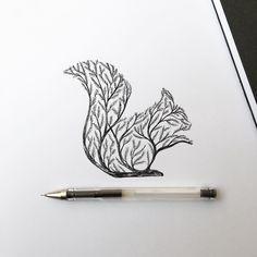 Resultado de imagem para tatuagem de esquilo em forma de arvore
