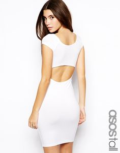 Image 1 ofASOS TALL Bardot Bodycon Dress with Cut Out Back
