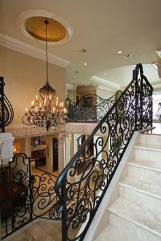 Stairs, Rod Iron Railing Wrought Iron Stair Railings Interior Elegant Curved Railing White Marble Stair Black Chandelier Amazing Home Interior Design: outstanding rod iron railing Wrought Iron Stair Railing, Tuscan House, Staircase Design, Railing Design, Home Interior, My Dream Home, Luxury Homes, New Homes, House Design