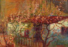 ΜΑΛΕΑΣ ΚΩΝΣΤΑΝΤΙΝΟΣ-House surrounded by almond trees Art Moderne, Greek, Painting, House, Beauty, Home, Painting Art, Paintings, Painted Canvas