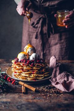 Gluten-free Waffles with Chai Ice-Cream and Cherry Compote - Our Food Stories Cherry Compote, Fruit Compote, Waffle Ingredients, Ice Cream Ingredients, Amazing Food Photography, Gluten Free Waffles, Frozen Cherries, Food Crush, Red Fruit