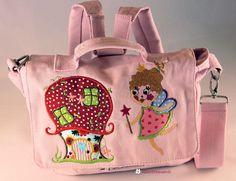"Kindergartentasche,Rucksack rosa ""Elfe, Elfenhaus"" von Illustramenti - Nadelmalerei - Embroidery auf DaWanda.com"