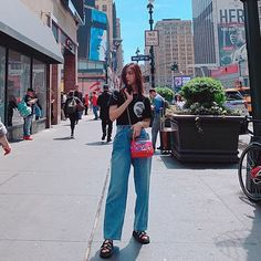 Image may contain: 1 person, standing, shoes and outdoor Guys And Girls, Kpop Girls, Korean Princess, Shin, New Girl, South Korean Girls, Girl Crushes, Girl Group, Bell Bottom Jeans