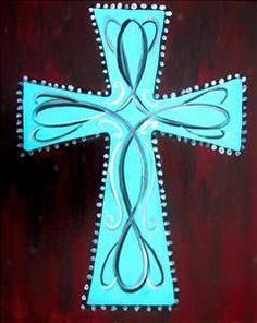 Turquoise Scroll Cross - New Braunfels, TX Painting Class - Painting with a Twist Wooden Crosses, Crosses Decor, Wall Crosses, Painted Crosses, Mosaic Crosses, Cross Door Hangers, Arts And Crafts, Diy Crafts, Burlap Crafts