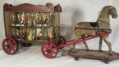 33in long x 13in tall x 8.5in wide. Grand Antique Victorian Horse Pull Toy Pulling a Circus Wagon AAFA Folk Art NR