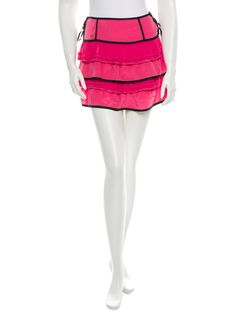 Pink and black Marc Jacobs silk skirt with contrast fabric panels throughout, hidden chain-link accents and dual exposed gold-tone zip closure at sides.