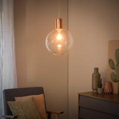 Lámpara de techo de metal cobrizo y cristal D.30 cm ROSALINE