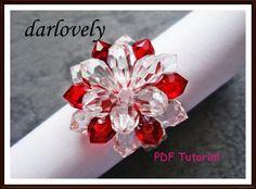 Swarovski Beaded rings tutorials | Red: Swarovski Big Red Crystal Flower Ring - PDF Tutorial - Rings