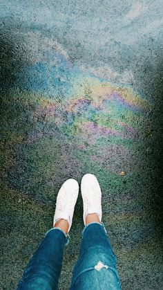 I was just walking on the street when I saw this super pretty rainbow colored thing on the floor so naturally I had to take a picture of it... VSCO Filter:C1 Contrast: +1