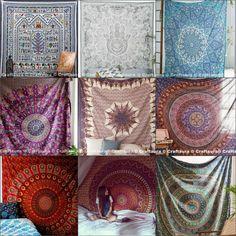 Hippie Bedspread Tapestry Wall Hanging Queen Mandala Bohemian Decor Bedsheet Art #Unbranded #ArtDecoStyle