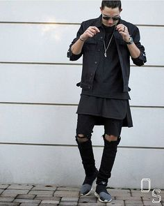 #OutfitSociety blvck on black:  Bad Bunch Denim Jacket  FOG Tee and Tank  Represent Jeans and  Adidas x Y3 Qasa Lows