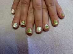 lime green and white with opposite poke a dots and bears on accent nails  Oasis Salon and Spa Mill Hall Pa (570)726-6565