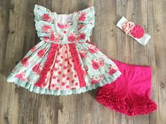 Serendipity Clothing Vintage Bloom Flutter tunic & icing shorties set (style 1845)