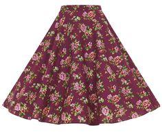 Damson Berry Floral Full Circle Swing Skirt