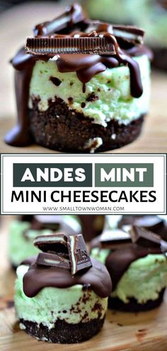 Andes Mint Mini Cheesecakes make great party treats on St. This easy St. Patrick's Day recipe combines chocolate graham cracker crust with creamy mint-flavored cheesecake – all topped with a swirl of rich chocolate and Andes Mint Candies! Mini Desserts, Brownie Desserts, Oreo Dessert, Easy Desserts, Baking Dessert Recipes, Cheesecake Deserts, Mini Cheesecake Cupcakes, Mini Cheesecake Recipes, Easy Baking Recipes