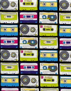 Timeless Treasures Fabric- Cassette Tapes- Multi Color - Retro Novelty Fabric. $8.00, via Etsy.