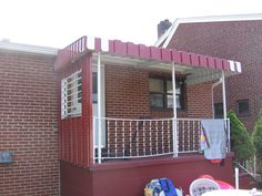 Pan & Cover Aluminum Awning with Side Cover as well. Side Aluminum Wall has louvers in it for air.