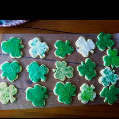 Shamrock cookies - William Sonoma sugar cookies and homemade green frosting