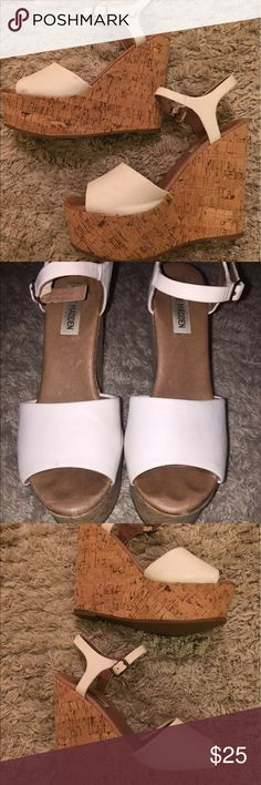 White Steve Madden wedges About 5 inch, white and cork wedges Steve Madden Shoes Wedges