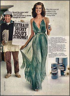 1981 Albert Caprano Green Gown. Secret deoderant Photo Ad