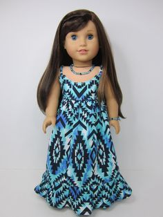 American Girl doll clothes  - Aqua, blue, black Aztec print maxi dress by JazzyDollDuds.