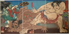 UTAGAWA KUNIYOSHI – Woodblock prints, Oban triptych entitled 'Akazawayama Ozumo' (Grand Sumo Tournament on Mt. Akazawa), depicting a historic sumo match between Kawazu Saburo Sukeyasu and Matano Goro Kagehisa, published by Maruya Kyushiro in 1 Japanese Artwork, Japanese Painting, Japanese Prints, Ju Jitsu, Kuniyoshi, Up Book, Japan Art, Triptych, Woodblock Print