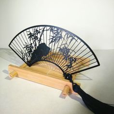 Chinese-style-antique-Fan-Bamboo-metal-bookmark-with-blue-tassels-gift-souvenir
