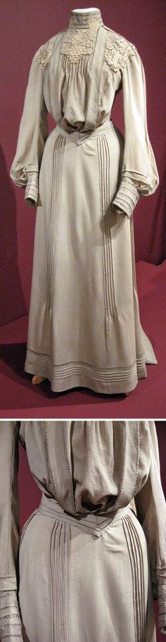 Day dress, American, ca. 1902. Putty-colored wool trimmed with lace and tucks. Two pieces. The Merry Dressmaker