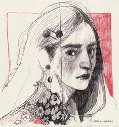Animation and illustration by Holly Warburton Pretty Art, Cute Art, Art Sketches, Art Drawings, Arte Sketchbook, Sketchbook Inspiration, Art Abstrait, Portrait Art, Self Portrait Drawing