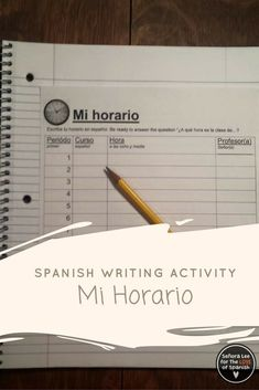 Spanish Time - Need a great idea for practicing telling time in Spanish? Fun printable class schedule to get students thinking about time in a way that is relevant & personal to them. Use this worksheet with middle school or high school Spanish students as a speaking activity to get them talking about their favorite classes and teachers. Glue into an interactive notebook to refer to again and again. #spanishtime #tellingtimeinspanish #spanishschedule #horario #senoralee #spanishclassschedule