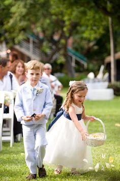 Ring Bearer & Flower Girl in Seersucker Wedding photo by peachblossomphotography.com