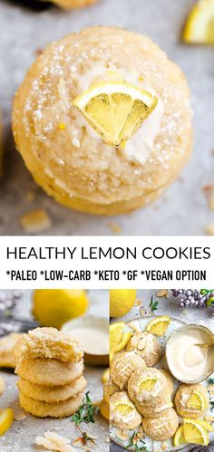 These healthy lemon cookies are soft, chewy & the perfect low carb, paleo & keto-friendly treat for Low Carb Desserts, Vegan Desserts, Easy Desserts, Low Carb Recipes, Vegan Recipes, Dessert Recipes, Cooking Recipes, Atkins Recipes, Rice Recipes