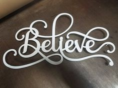 Believe Metal Word Art Sign Wall Decor Modern