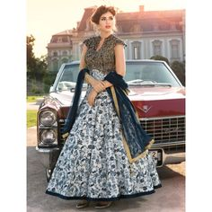 Kameez Fabric : Bhagalpuri Silk, Bottom Fabric : Raw Silk, Dupatta Fabric : Net kameez_color : White, bottom_color : Blue, dupatta_color : Blue Designer Stone Work With Digital Print , Size: max.upto 42'