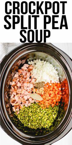 Pea Soup Crockpot, Crock Pot Soup, Slow Cooker Soup, Pea Recipes, Healthy Crockpot Recipes, Split Pea Soup Recipe, Easy Split Pea Soup, Pea And Ham Soup, Leftover Ham Recipes