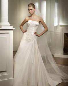 A Line Princess Strapless Chapel train wedding dress for brides 2013 Style