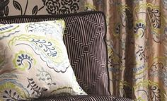 Delacroix fabric collection by William Yeoward is a stunning range; the embroidery and flocked textures add drama, while the colours fit in with any interi Curtain Fabric, Curtains, Roman Blinds, Designers Guild, Fabric Wallpaper, Home Furnishings, House Design, Colours, Throw Pillows