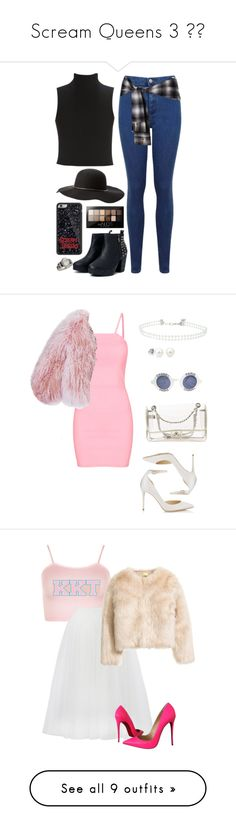 """Scream Queens 3 🔪👑"" by catilynhartzog ❤ liked on Polyvore featuring Elizabeth and James, Miss Selfridge, Jocelyn, Charlotte Russe, Maybelline, ScreamQueens, Florence Bridge, Jimmy Choo, Chanel and halloweencostume"