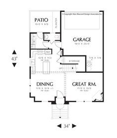 Main Floor Plan of Mascord Plan 21139 - The Hilldale - So Many Well Designed Spaces in a Compact Package