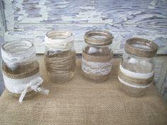 Burlap & Lace Mason Jar Centerpieces