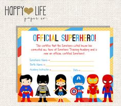Free Printable Superhero Certificates Fresh Superhero Training Camp Game Printable by Myhappylifedesigns Superhero Preschool, Superhero Party Games, Superhero Names, Superhero Classroom, Superhero Room, Superhero Birthday Party, 6th Birthday Parties, Avengers Birthday, Interstellar