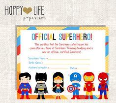 SUPERHERO Training Camp Game- PRINTABLE- Instant Download- Superhero Party…