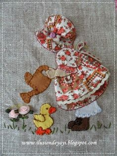 Rabbitat 18 x 24 Poster reproduction of fabric relief embroidery Quilt Block Patterns, Applique Patterns, Applique Quilts, Applique Tutorial, Applique Templates, Sunbonnet Sue, Girls Quilts, Baby Quilts, Hand Applique
