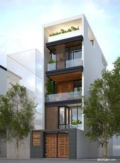 Exterior apartment building dream homes 34 Ideas - Modern 3 Storey House Design, House Front Design, Small House Design, Modern House Design, Narrow House Designs, Narrow House Plans, Modern House Plans, Design Exterior, Exterior Colors