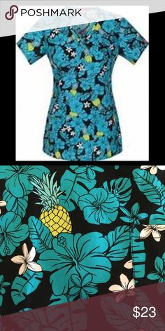 DICKIES TROPICAL HAWAIIAN SCRUB TOP Women's L New with tags! Black 100% cotton tropical Hawaiian pineapple print scrub top by DICKIES. Two front pockets. V-neck. Size women's L. Colors: black, teal, white, green. Dickies Tops