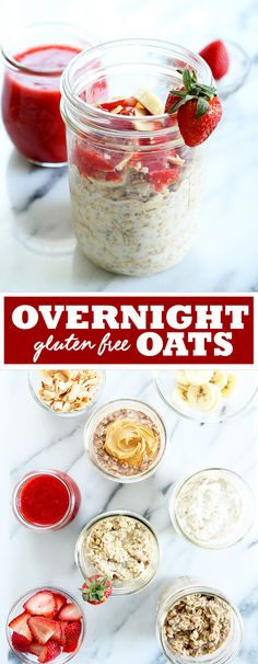 Gluten free overnight oats are made with just rolled oats, some seeds and any sort of milk, and take less than 5 minutes of prep time. A fast, nutritious and filling breakfast, with endless flavor variations! http://glutenfreeonashoestring.com/overnight-oats/