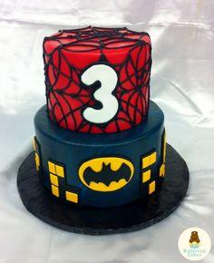 spiderman and batman cake | Spiderman Batman Birthday Cake